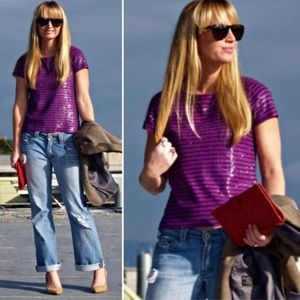 J. Crew Sequin stripe tee